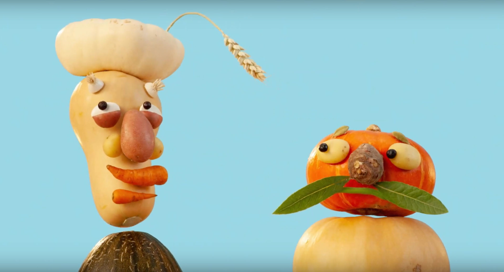 vegetables shaped like two heads in a commercial for Rabobank