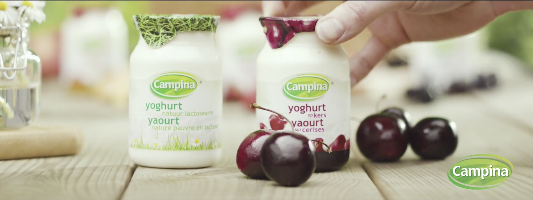 two yoghurts one with cherries and a hand putting the yoghurt down