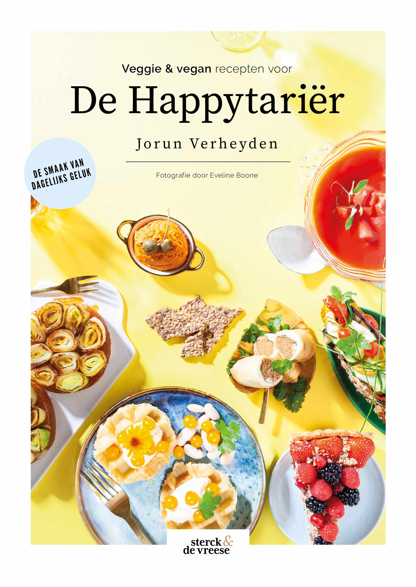 Cookbook cover design of De Happytarier with bright colors and sunny vegetarian food