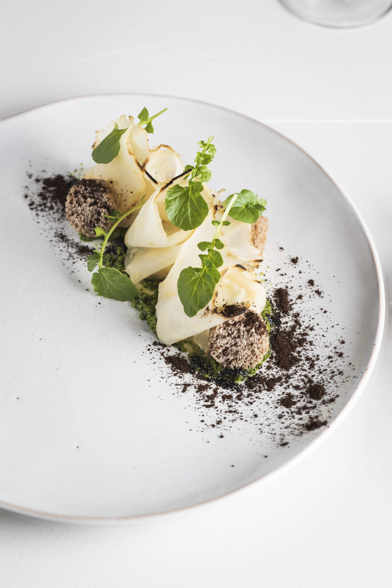 topshot of a plant-based dish created by Nicolas Decloedt on a white plate