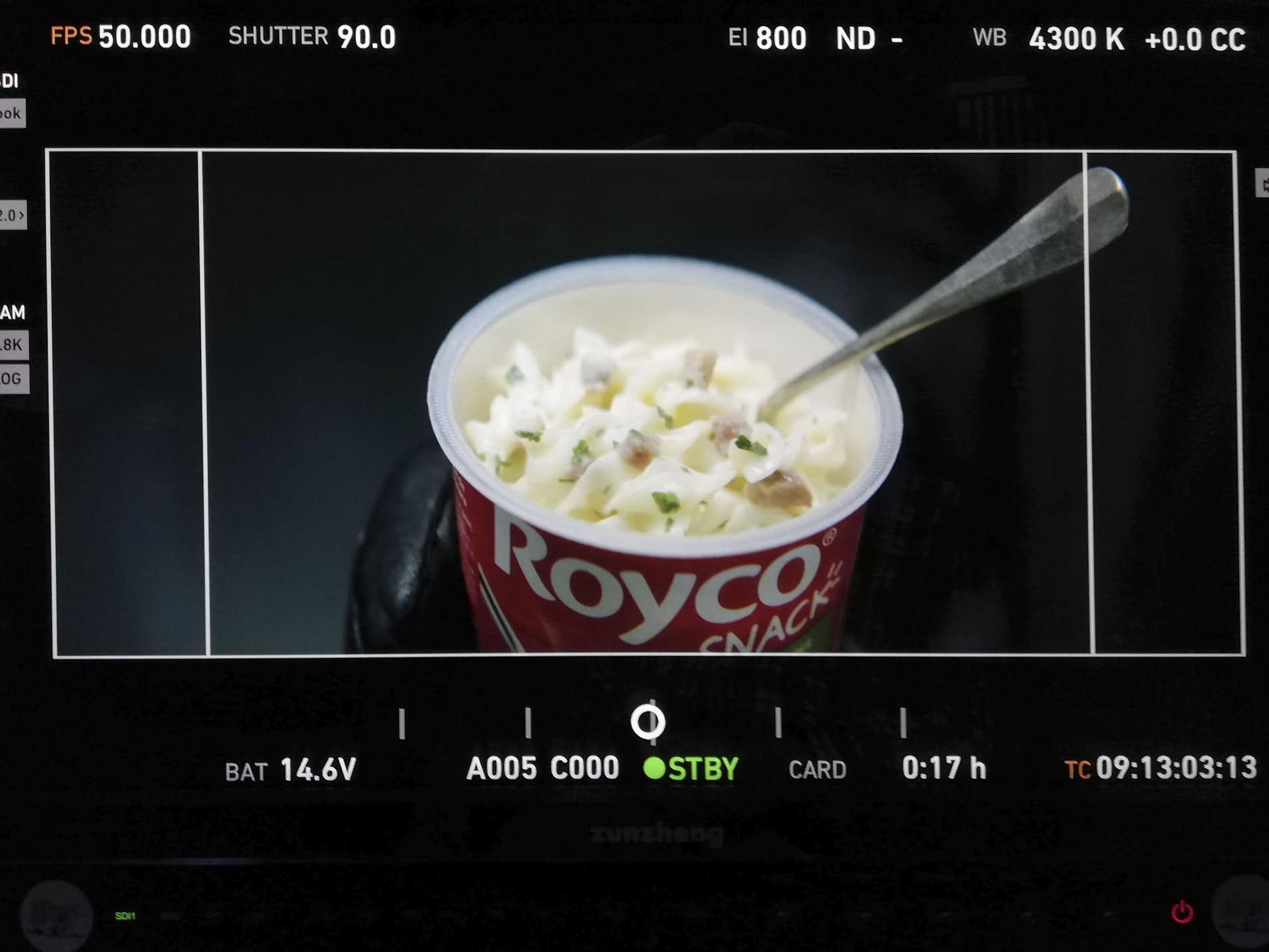 photo of a moviescreen with a close-up of royco snack carbonara